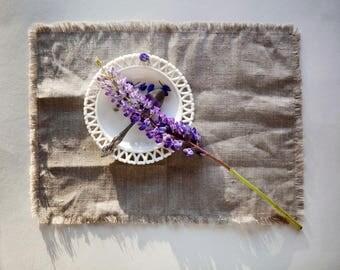 Farm Table napkins set, zero waste fringed placemats, washable cloth napkins, fiesta napkins, nautical napkins 13x18 inch size