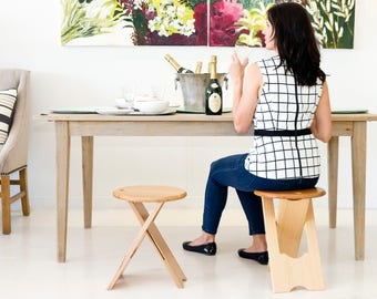 Folding stool or side table Musician or artist stool Unique design Handcrafted from solid Victorian Ash Timber Folds flat 450mm high