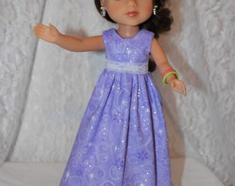 Back to School! Long Purple Sparkly Dress and Lace/ Shoes Included. Handmade to fit the wellie wisher and Heart to Heart doll Free Shipping