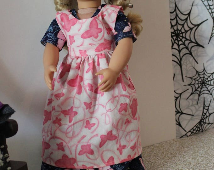 Ready for Thanksgiving, historical Long Dress with Pink Butterflies, Apron Made for the AG, and other 18 inch Dolls, FREE SHIPPING
