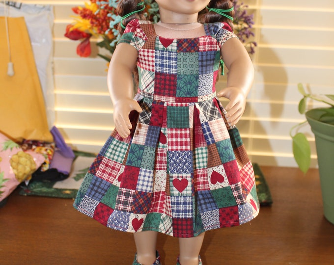 Ready for a Party, Patchwork Squares Print ,Dress , Matching Shoes made to fit the AG and other 18 inch dolls FREE SHIPPING