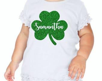 personalized shamrock shirt, glitter shamrock shirt, Girl Shamrock Shirt, kids shamrock shirt, st Patrick day shirt, st patricks outfit