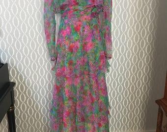 Exquisitely Made Long Floral Dress 1970's Patricia Burn Nashville Designer