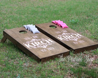 Name & Established by Personalized Cornhole Set