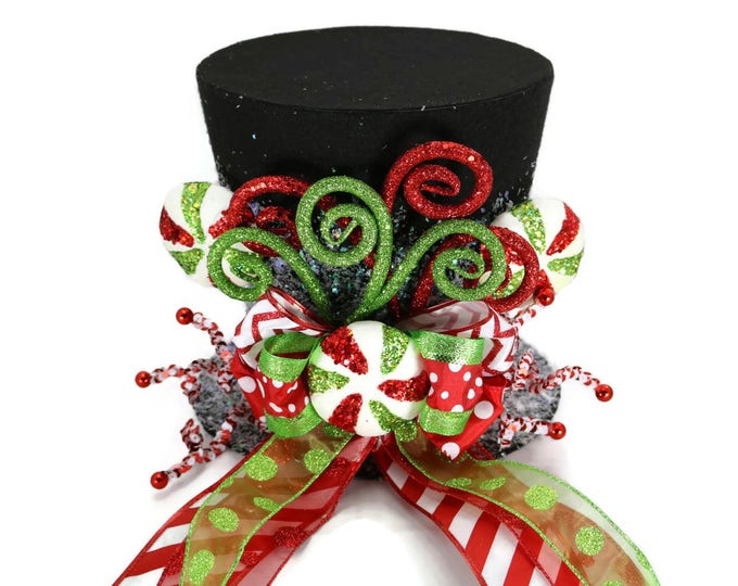 Featured listing image: Candy Christmas tree topper,Black Candy Cane tree topper. Holiday Hat decoration, Christmas decor. Santa Clause tree topper