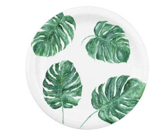 Monstera Leaf Paper Plates, monstera leaf plates, tropical leaf plates, palm leaf plate, palm leaf plates, monstera party, monstera leaves