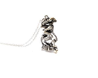 Alien Necklace - Sci-fi Charm -  Initial Necklace - Personalized Necklace - Sterling Silver Jewelry - Gift for Her