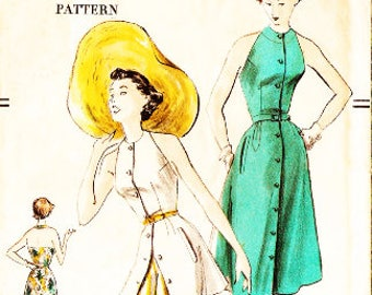 Vogue 3414 Vintage 1950s Halter Beach Dress Sewing Pattern