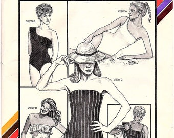 Stretch & Sew 1331 Vintage 1980s Strapless or One Shoulder Ruffle Swimsuit Sewing Pattern