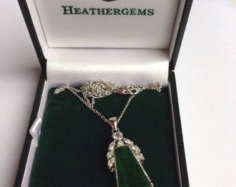 Heathergems Boxed Vintage Necklace Green Gemstone Silver Plated Marked 18k GF