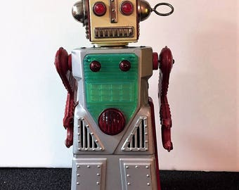 Vintage Chief Robotman Golden Age Classic 1959 Tin Battery Operated Animated Robot - Made in Japan