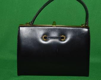 Vintage BIRKS Handbag Purse Bag  Black Leather 1950s