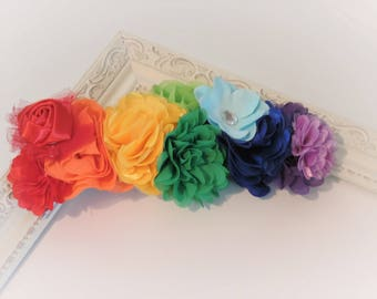 Rainbow Flower crown headband, rainbow headband, pride accessories, edc edm rave plur, elastic headband, adult accessories, photo prop,