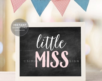 little miss, it's a girl, chalkboard sign, pink, gender reveal, baby shower sign, baby girl, gender reveal party sign, instant download