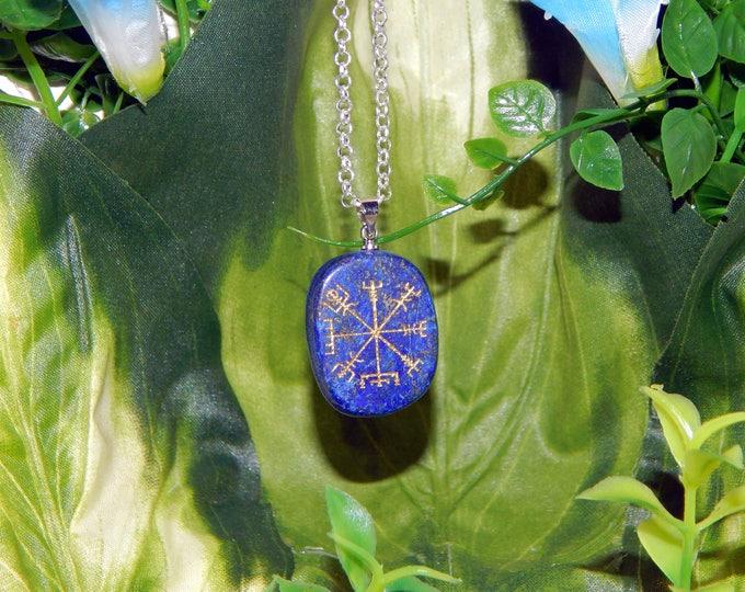 VIKING Vegvísir Heathen LAPIS LAZULI Necklace Talisman - Charm necklace includes silver link chain