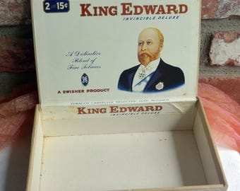 Cigar Box, King Edward - Invincible Deluxe, 2 for .25, Swisher Product - Vintage - Fabulous!