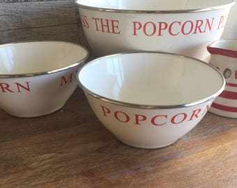 Popcorn Bowl Set Red and White Metal Bowl  with Butter Pitcher - Movie Theater Popcorn Set - Large Bowl Two Smaller Bowls - ButterPitcher