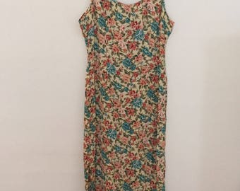 Yellow Floral Print Maxi-Dress - Early 90s