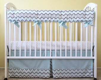 Mist and Gray Chevron BUMPERLESS CRIB BEDDING Set - Includes Crib Skirt and Crib Rail Pad - Boy Bumperless Baby Bedding - Ready to Ship