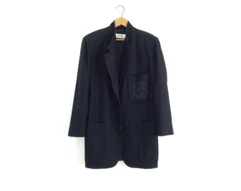 vintage black blazer womens blazer black 80s jacket wool jacket 80s blazer 1980s clothing collegiate