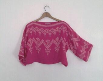 ikat crop top dina louise kimono sleeve top ikat top hot pink cotton crop top boatneck handmade