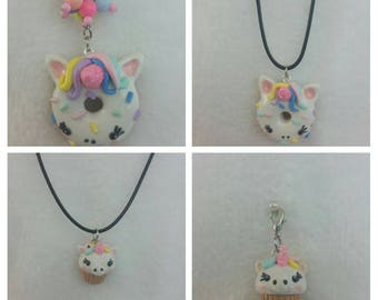 Polymer clay kawaii unicorn keychain/charm/necklace