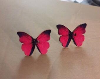 Butterfly post earrings pink