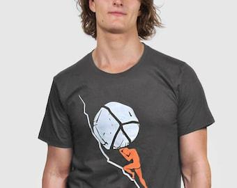 One Must Imagine Sisyphus Happy - Albert Camus Philosophy Peace T-shirt.