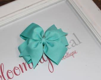 "Aqua Large 4"" Pinwheel Bow"