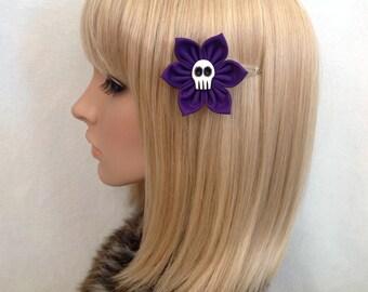 Skull hair flower snap clip rockabilly pin up girls psychobilly punk pretty cute retro purple Dias de Los muertos Mexican floral kawaii