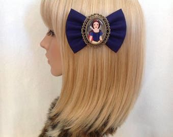Snow White hair bow clip rockabilly psychobilly disney princess kawaii pin up girl fabric apple evil queen seven dwarf navy blue