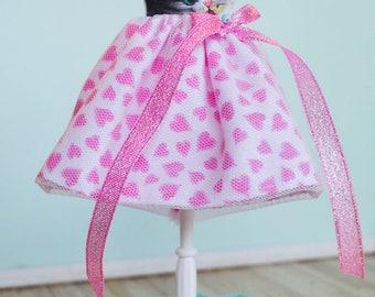 Handmade Blythe Doll Dress - Cheeky Kitten with Tulle Overlay Skirt