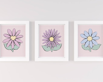 Flower Nursery Art, Pink Theme, Baby Girl Nursery Wall Art Prints, Kids Wall Decor, Floral Nursery Illustration Prints, Cute Happy Flowers