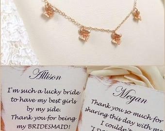Rose Gold Necklace Dainty // Tiny Orchids Multi Charm Necklace // Perfect Gift Ideas for Her // geschenk für freundin