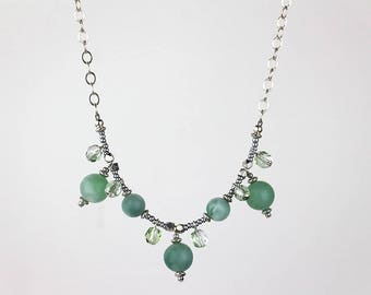 Green and Silver Beaded Dangle Necklace with Silver Chain