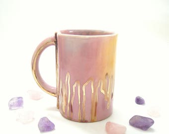 Drippy Gold Rainbow Coffee or Tea Mug, ceramic pottery, rose gold, unicorn cup, gift for her, pinch pottery, pink, purple, birthday mug