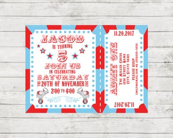 Circus Carnival Theme Birthday Party Invitation - Circus Party - Carnival Party - Elephants - Ticket Style - Red and Blue - Printable
