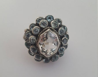 Antique Arts & Crafts Silver and Pale Blue Topaz Cluster Ring // 1900s Jeweled Ring // Austro-Hungarian Antique Ring