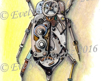 Steampunk Beetle, handdrawn with ink pen and colored pencil
