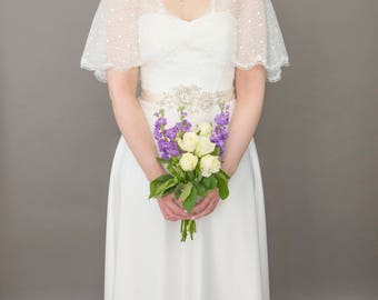 Bridal cape, bridal shrug, sparkly cape, lace edged cape, Genevieve