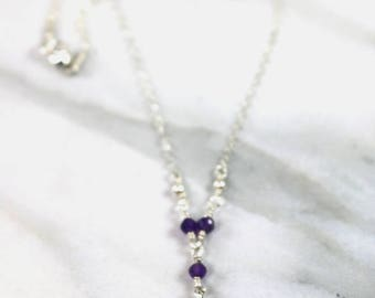 Crown Chakra Necklace | Amethyst Necklace | Delicate Necklace | Dainty Necklace | Charm Necklace | Gold or Silver
