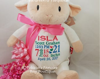 "Personalized Baby Gift, Lamb ""Loverbee"" Baby Cubbie Stuffie, Special Personalized Baby Gift by Felicia's Fancies Baby Boutique"