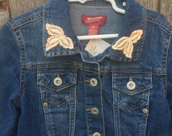 Embroidered Flowers Girl's Upcycled Jean Jacket (sz 6)