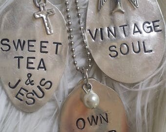 The Vintage Junkie...Long, Layering,  stamped silver spoons... Inspirational Spoon Necklace