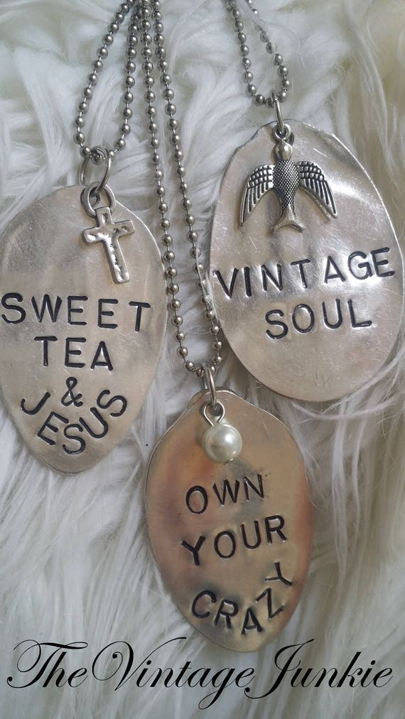 Long, Layering, Inspirational Silver Spoon Necklaces