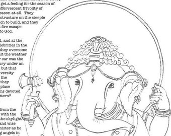 Ganesh Adult coloring page downloadable coloring whimsical story Ganesha Ganapati removes obstacles elephant