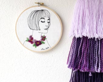 original art Gift for women mothers day gift for wife housewarming gift for her, flower necklace, purple flowers, trending now, wall decor