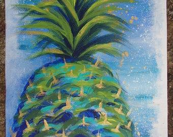 Blue Green Ocean Spray Pineapple Painting