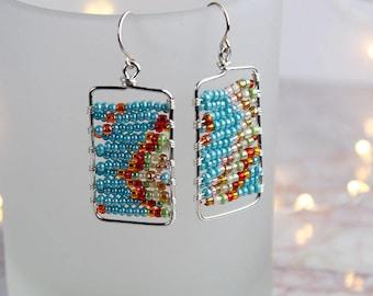Turquoise and orange geometric beaded earrings