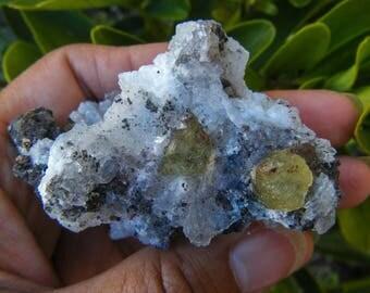 Gemmy Yellow Apatite Crystal On Rare Botryodial Quartz Matrix, Rare Mineral, Quartz, Crystal, Stone, Chacedony, Hematite, Quality Specimen